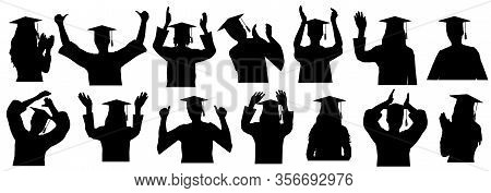 Graduates In Academic Gown And Square Academic Caps With Tassel, Set Silhouettes. Vector Illustratio