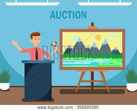 Auctioneer With Gavel Selling Landscape Painting Vector Illustration. Buying And Selling Goods Or Se