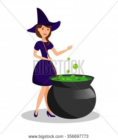 Witch Boiling Sorcery Potion Vector Illustration. Young Woman In Witch Costume Cartoon Character. Ca