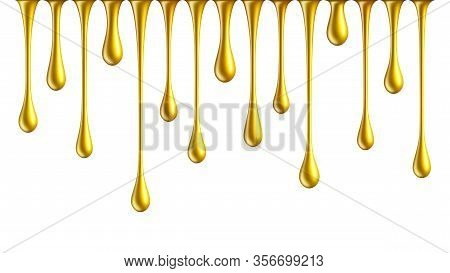 Golden Nail Polish Drops. Dripping Golden Paint Isolated On White Background