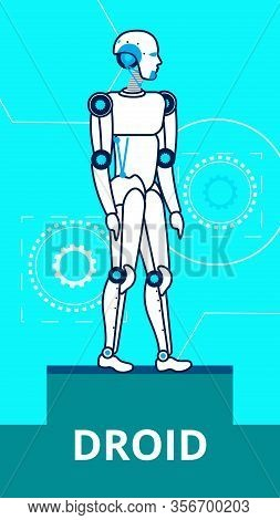 Ai Droid Standing On Stage Flat Poster Template. Cartoon Robot Thin Line Illustration. Steel Humanoi