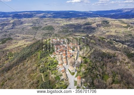 An Aerial View Of Picturesque Village Draguc, On The Doorstep Of Spring,  Istra, Croatia