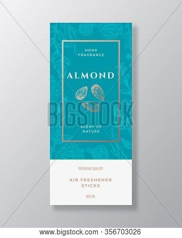 Almond Home Fragrance Abstract Vector Label Template. Hand Drawn Sketch Nuts, Flowers, Leaves Backgr