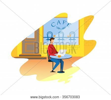 Man Freelancer Businessman Working On Laptop Student Attending E-learning Course In Cafe Vector Flat