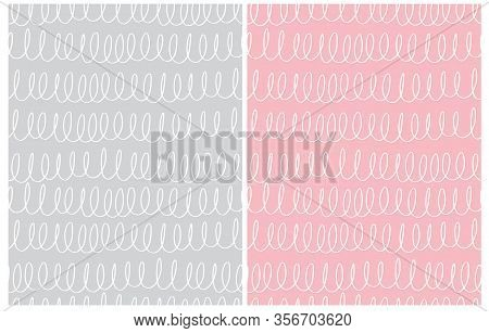 Set Of 2 Cute Abstract Geometric Vector Patterns. White Lines With Loops Isolated On A Light Gray An