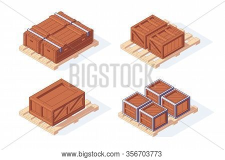 Isometric Warehouse Boxes Pallet Equipment Shelf Rack. 3d Storage Box Pallets Shelving Stacking Vect