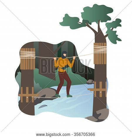 Woman Resting In Adventure Park Flat Character. Girl Walking On String In Extreme Rope Park. Wildern