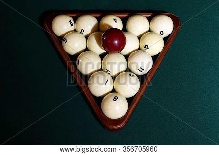 Billiard Balls In The Triangle On The Billiard Table. Russian Billiard.
