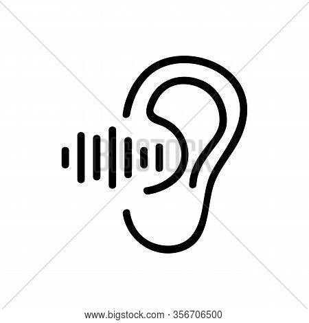 The Ear Hears Sound Icon Vector. The Ear Hears Sound Sign. Isolated Contour Symbol Illustration