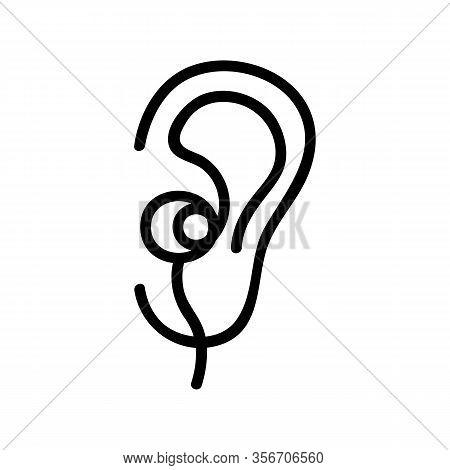 Ear Earphone Icon Vector. Ear Earphone Sign. Isolated Contour Symbol Illustration