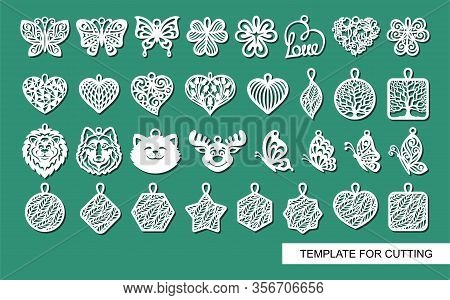 Large Set Of Cute Decorative Ornaments With Leaves, Flowers, Butterflies, Hearts, Animals. Template