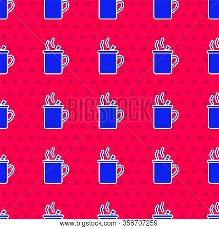 Blue Mulled Wine With Glass Of Drink And Ingredients Icon Isolated Seamless Pattern On Red Backgroun