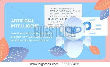 Artificial Intelligence Flat Banner Vector Layout. Digital Intellect, Smart Computer Program. Mathem