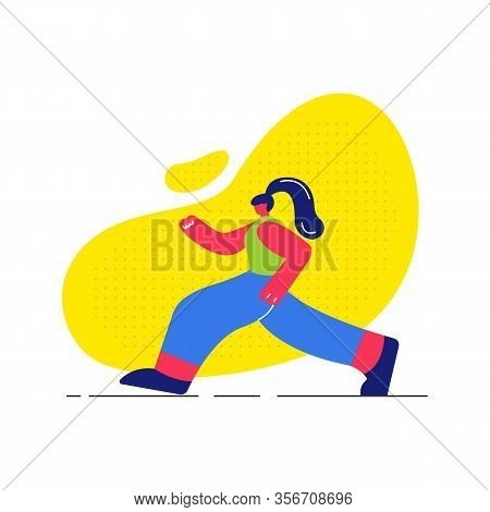 Girl Jogging, Working Out Flat Vector Illustration. Young Runner In Sportswear Faceless Cartoon Char