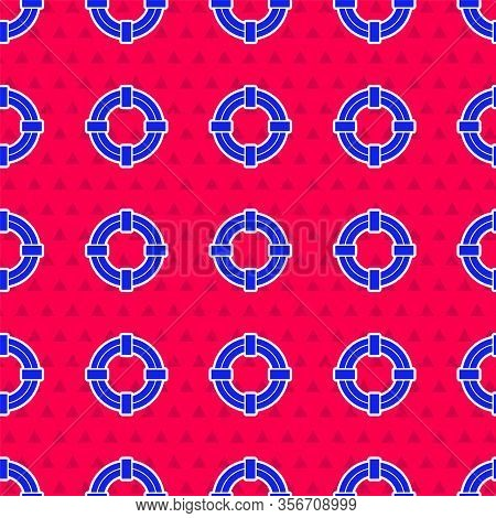 Blue Lifebuoy Icon Isolated Seamless Pattern On Red Background. Life Saving Floating Lifebuoy For Be