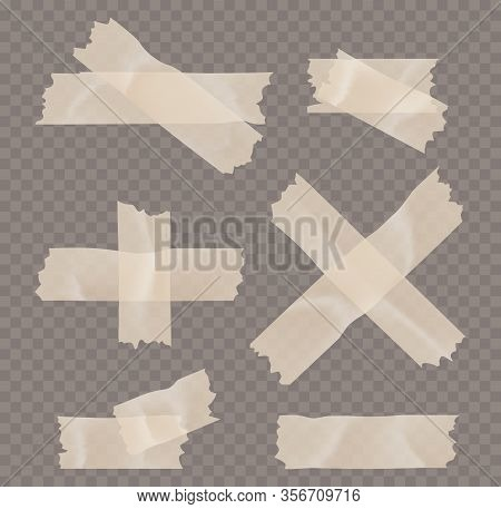 Adhesive Tape With Shadow Isolated Realistic Vector Illustration. Realistic Transparent Adhesive Tap