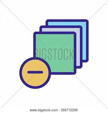 To Remove A Single Layer Icon Vector. To Remove A Single Layer Sign. Color Isolated Symbol Illustrat