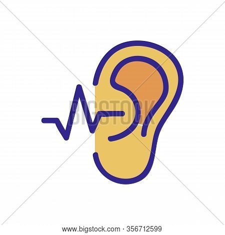 The Ear Hears A Sound Wave Icon Vector. The Ear Hears A Sound Wave Sign. Color Isolated Symbol Illus