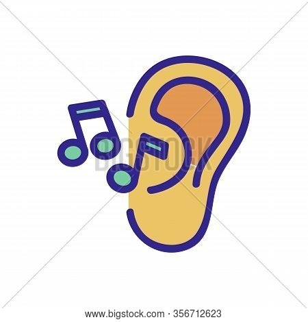 The Ear Hears Music Icon Vector. The Ear Hears Music Sign. Color Isolated Symbol Illustration