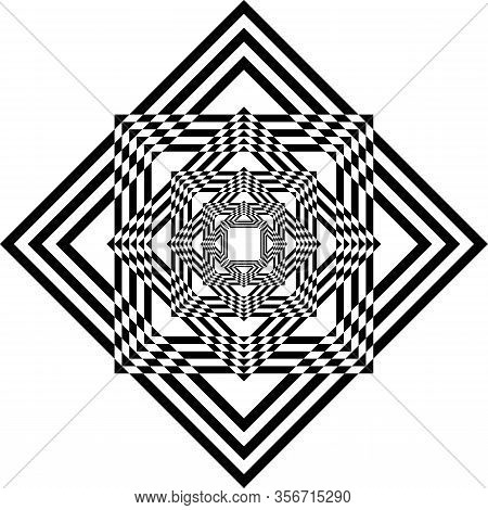 Abstract Arabesque Spider Illusion Perspective Negative Space Design Black On Transparent Background