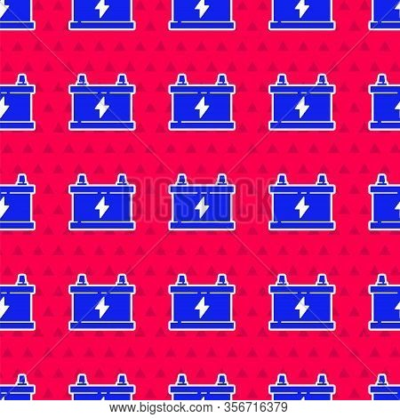 Blue Car Battery Icon Isolated Seamless Pattern On Red Background. Accumulator Battery Energy Power