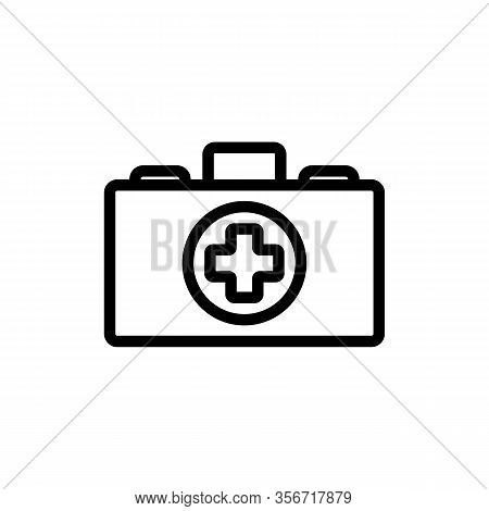 Suitcase Medic Icon Vector. Suitcase Medic Sign. Isolated Contour Symbol Illustration