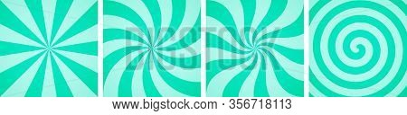 Set Of Sweet Mint Candy Abstract Vector Backgrounds