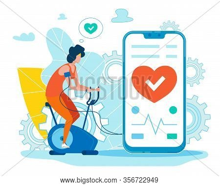Cartoon Woman Training On Stationary Bike And Controlling Pulse On Mobile App. Digital Health Care A