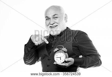 Senior Man White Beard. Senior Timekeeper. Counting Time. Time And Age Concept. Bearded Man Clock Ti