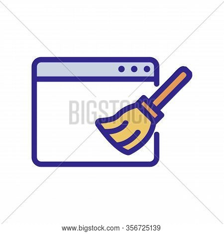 Computer Cleanup Icon Vector. Computer Cleanup Sign. Color Isolated Symbol Illustration