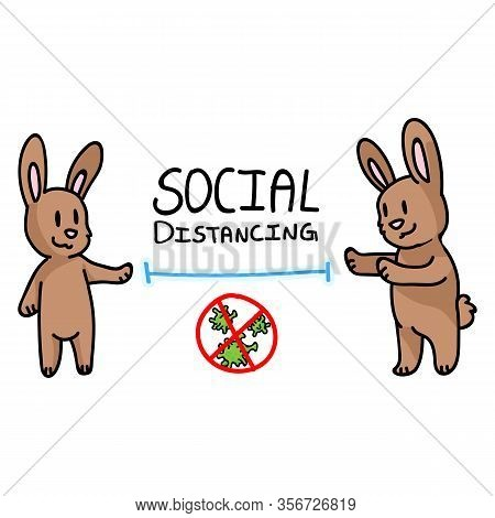 Corona Virus Kids Cartoon Social Distancing Infographic. Viral Flu Help Cute Bunny. Educational Grap