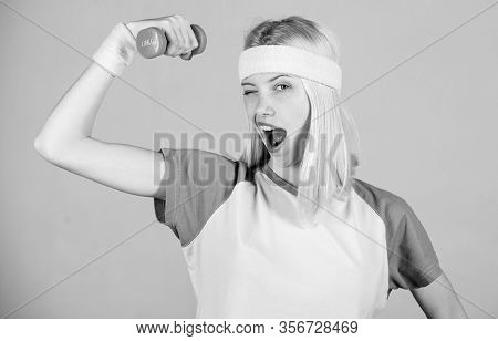 Woman Workout In Gym With Sport Equipment. Workout Result. Woman Fitness Coach Exercising With Dumbb