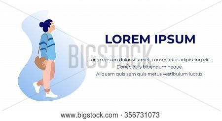 Woman On White Background In Exhibition Center. Vector Illustration . White Background And Text. Wal