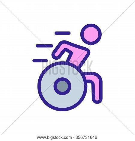 Athletic Wheelchair Icon Vector. Athletic Wheelchair Sign. Color Isolated Symbol Illustration