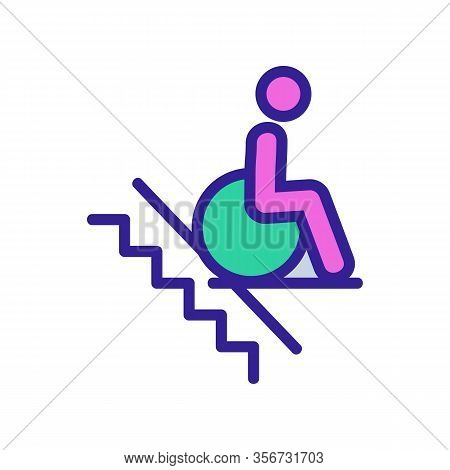 Man Wheelchair Icon Vector. Man Wheelchair Sign. Color Isolated Symbol Illustration
