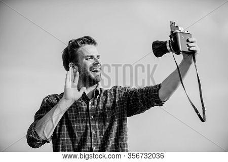 Travel Blogger. Reporter Taking Photo. Vintage Equipment. Blogger Shooting Vlog. Vacation Time. Hand