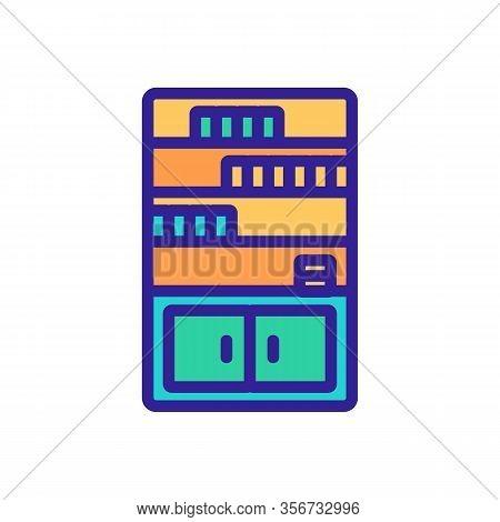 Cabinet Shelf Icon Vector. Cabinet Shelf Sign. Color Isolated Symbol Illustration