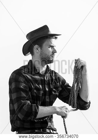 Farming Concept. Handsome Man In Hat And Rustic Style Outfit. Keep Ranch. Life At Ranch. Cowboy With