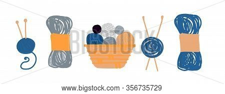 Collection Of Hand-drawn Balls And Skeins Of Yarn For Knitting In Flat Style On A White Background.