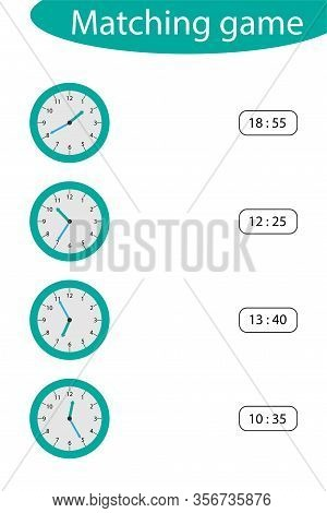 What Time Is It, Matching Game With Clocks For Children, Fun Education Activity For Kids, Educationa
