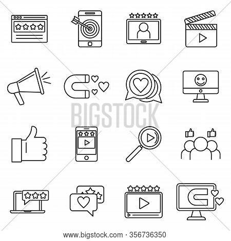 Engaging Content Digital Icons Set. Outline Set Of Engaging Content Digital Vector Icons For Web Des