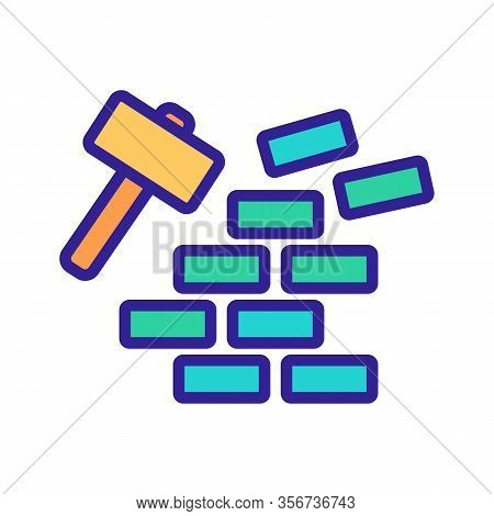 Demolition Of Wall Icon Vector. Demolition Of Wall Sign. Color Isolated Symbol Illustration