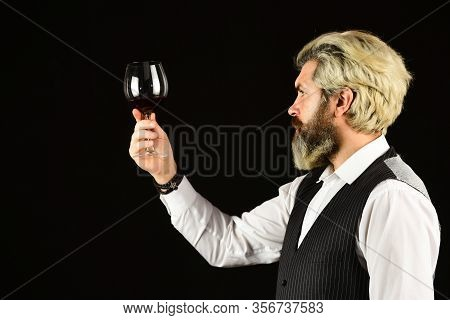 Cheers To Friends. Male Skilled Sommelier Estimates Alcoholic Drink. Red Wine In Wineglasses. Bearde