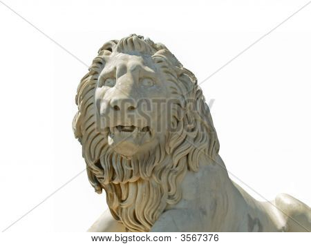 big white marble lion - statue in old palace in Crimea king of beasts poster