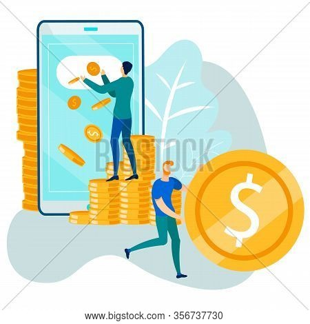 Money Transfer Online And Financial Operations In E-banking Via Mobile Phone. Cartoon Men Using Smar