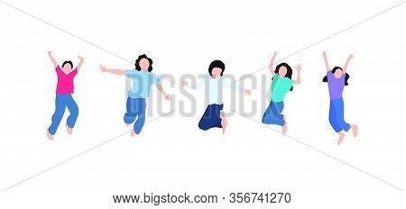 Collection Of Children, Pupils Or Students Jump With Happy Face. Bundle Of Kids Jump Together Isolat
