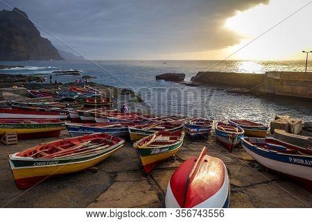 Ponta Do Sol/cape Verde - August 12, 2018 - Harbor At Sunset In Santo Antao Island