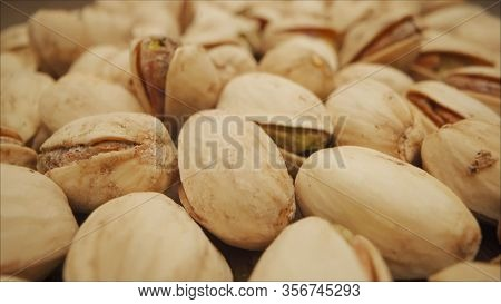 Extreme Close-up Of Pistachio, Isometric View. Close-up Of Pistachios. Macro Video Shooting Of Nuts,