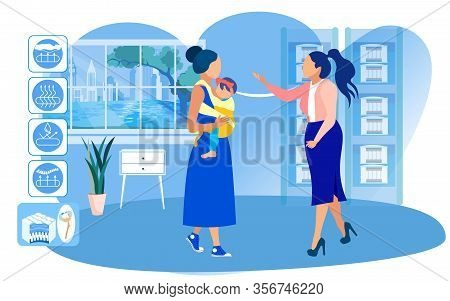 Woman Assistant Helping Young Mother With Baby Girl In Sling, To Choose Cotton Filling Mattress. Ana