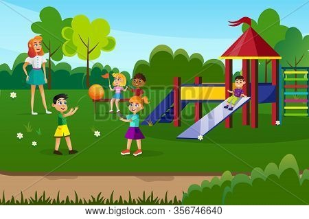 Summer Camp For Kids Flat Cartoon Vector Illustration. Young Woman Supervising Children Activities O